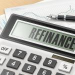 calculator with the word refinance