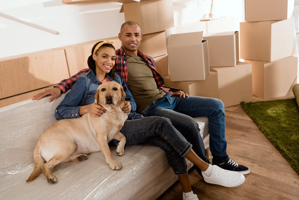 young couple with dog, smiling on sofa at home, moving boxes behind them