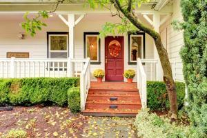 Home Entrance During Fall, Red Door, Leaves on Path